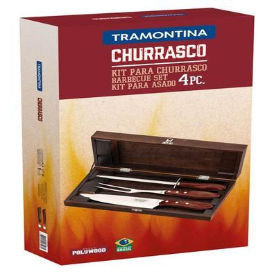 Kit para Churrasco Tramontina em Aço Inox com Cabo Castanho Polywood com Estojo em Madeira 4 Peças Tramontina