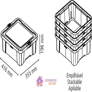 Caixa Organizadora 17L Cinza Basic Tramontina