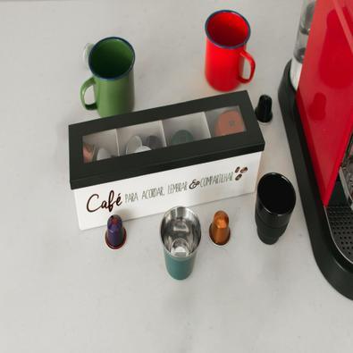Caixa Porta Cápsulas de Aço Café para Acordar