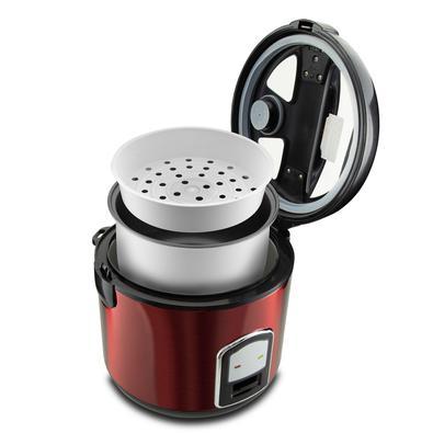 Panela de Arroz Britânia Glass Cooker Inox Red BPA12VI 12 Xícaras 127V