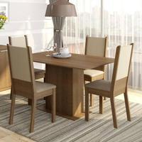 Conjunto Sala de Jantar, Madesa, Rita, Mesa Tampo de Madeira com 4 Cadeiras, Rustic/Crema/Pérola