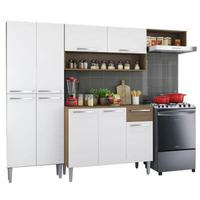 Cozinha Compacta Madesa Emilly Top com Armário e Balcão Rustic/Branco Cor:Rustic/Branco