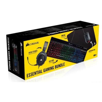 Kit Gamer Corsair 4 em 1, Teclado K55 RGB + Mouse Harpoon RGB Pro + MousePad MM100 + Headset HS50 Stereo Preto - CH-9226315-BR