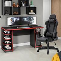 Kit Bela Cadeira Gamer MoobX GT Racer + Mesa Gamer XP, Preto/Vermelho