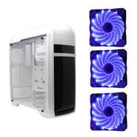 Gabinete Gamer Bluecase BG-024WT Branco, USB 3.0, Com 3 Fans Led Azuis - BG-024WT