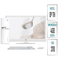 Computador Skill SlimPC Intel Celeron G4930 8ª Geração, 4GB, DDR4, HD 3TB, Intel UHD 610, Monitor 15.6´, LED, HDMI, Branco