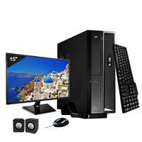 Mini Computador ICC I3 4gb HD 120GB SSD DVDRW Kit Multimídia Monitor 15 Windows 10