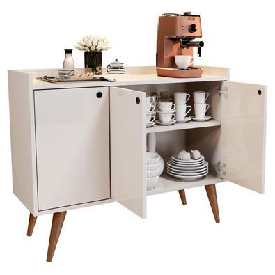 Aparador Buffet Retrô 3 Portas Wood Rpm Móveis, Off White