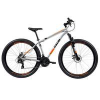 Bicicleta Mtb Caloi Two Niner Alloy Aro 29 com Suspensão Dianteira, Quadro Alumínio, Shimano, Freio à Disco e 21 Velocidades, Prata