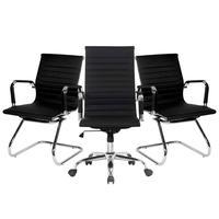 Conjunto Bela Com 1 Cadeira Presidente Giratória E 2 Cadeiras Executivas Base Fixa Para Escritório Esteirinha Boston