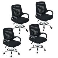 Conjunto Bela Com 4 Cadeiras Executiva Viena Giratória Regulagem De Altura À Gás Tela