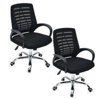 Conjunto com 2 Cadeiras Executiva Viena Giratória com Regulagem de Altura à Gás, Telada