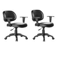 Kit Com 2 Cadeiras Executiva Giratória Internauta Premium Preta