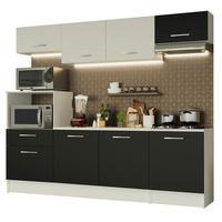 Cozinha Completa Madesa Onix 240002 com Armario e Balcão Branco/Preto 0977 Cor:Branco/Preto/Branco