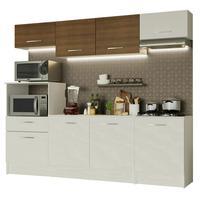 Cozinha completa madesa onix 240002 com armario e balcão branco/rustic 099b cor:branco/branco/rustic