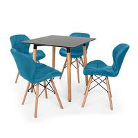 Kit Mesa Jantar Eiffel 80x80cm Preta + 04 Cadeiras Slim - Turquesa
