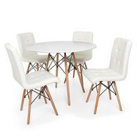 Kit Mesa Jantar Eiffel 120cm Branca + 04 Cadeiras Gomos - Branca