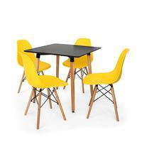 Kit Mesa Jantar Eiffel 80x80 Preta + 04 Cadeiras Charles Eames Eiffel - Amarela