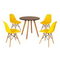 Mesa Inês 80cm Preta + 4 Cadeiras Eames Eiffel - Amarela