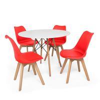 Kit Mesa Jantar Eiffel 90cm Branca + 04 Cadeiras Leda - Vermelha