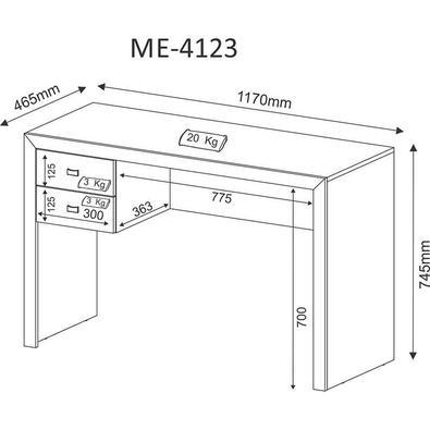 Mesa De Computador C/ 2 Gavetas Me4123 - Tecno Mobili - Amendoa