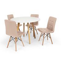 Conjunto Mesa De Jantar Laura 100cm Branca Com 4 Cadeiras Eiffel Gomos - Nude