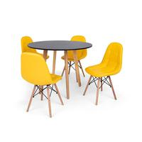 Conjunto Mesa De Jantar Laura 100cm Preta Com 4 Cadeiras Charles Eames Botonê - Amarela