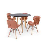 Conjunto Mesa De Jantar Laura 100cm Preta Com 4 Cadeiras Eames Eiffel Slim - Marrom