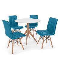 Conjunto Mesa De Jantar Maitê 80cm Branca Com 4 Cadeiras Eiffel Gomos - Turquesa