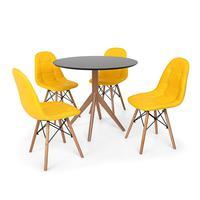 Conjunto Mesa De Jantar Maitê 80cm Preta Com 4 Cadeiras Charles Eames Botonê - Amarela