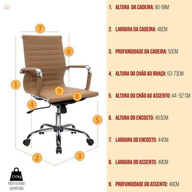 Conjunto Escritório Home Office Com Escrivaninha 2 Gavetas Branca E Cadeira Giratória Boston Caramelo