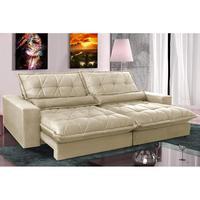 Sofa Retrátil E Reclinável 2,92m Com Molas Ensacadas Cama Inbox Soft Tecido Suede Bege