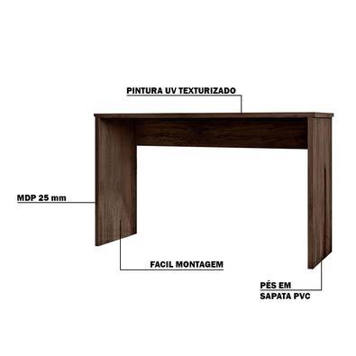 Mesa Para Escritório Home Office Sem Gaveta Emma Avelã Texturizado - Gran Belo