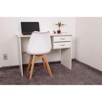 Kit Escrivaninha Com Gaveteiro Branca + 01 Cadeira Leda - Branca