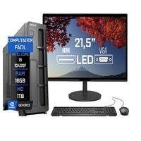 """Computador Fácil Slim Completo Intel Core I5 10400F Décima Geração, 16GB DDR4, HD 1TB, Monitor 21.5"""" Led, HDMI"""