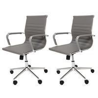 Kit 2 Cadeiras De Escritório Diretor Ergonômica Charles Eames Eiffel Stripes Esteirinha Cinza