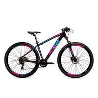 Bicicleta Alumínio Ksw Shimano Altus 24 Vel Freio Hidráulico E Suspensão Com Trava Krw18 - 21´´ - Preto/azul E Rosa