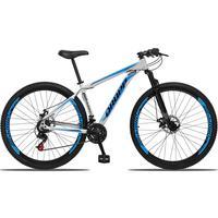 Bicicleta Aro 29 Dropp Aluminum 21v Suspensão, Freio A Disco - Branco/azul E Preto - 15