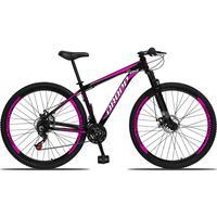 Bicicleta Aro 29 Dropp Aluminum 21v Suspensão, Freio A Disco - Preto/rosa E Branco - 19