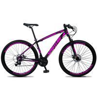 Bicicleta Aro 29 Spaceline Vega 21v Shimano E Freio A Disco - Preto/rosa - 17''