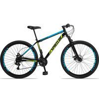 Bicicleta Aro 29 Spaceline Moon 21v Suspensão E Freio Disco - Preto/azul E Amarelo - 19´´ - 19´´