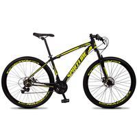 Bicicleta Aro 29 Spaceline Vega 21v Suspensão E Freio Disco - Preto/amarelo - 15''