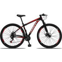 Bicicleta Aro 29 Dropp Aluminum 21v Suspensão, Freio A Disco - Preto/vermelho E Branco - 19