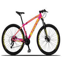 Bicicleta Aro 29 Dropp Z3x 27v Suspensão E Freio Hidraulico - Rosa/amarelo - 15´´ - 15´´