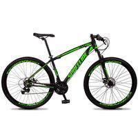 Bicicleta Aro 29 Spaceline Vega 21v Suspensão E Freio Disco - Preto/verde - 19´´ - 19´´