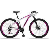 Bicicleta Aro 29 Dropp Aluminum 21v Suspensão, Freio A Disco - Branco/rosa E Preto - 17