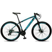 Bicicleta Aro 29 Spaceline Vega 21v Shimano E Freio A Disco - Preto/azul - 19''