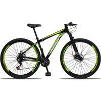 Bicicleta Aro 29 Dropp Aluminum 21v Suspensão, Freio A Disco - Preto/amarelo E Branco - 15