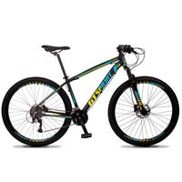 Bicicleta Aro 29 Gt Sprint Volcon 27v Susp E Freio Hidraulic - Preto/azul E Amarelo - 17''