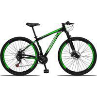 Bicicleta Aro 29 Dropp Aluminum 21v Suspensão, Freio A Disco - Preto/verde E Branco - 15